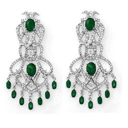 17.30 CTW Emerald & Diamond Earrings 14K White Gold - REF-434M8F - 11843