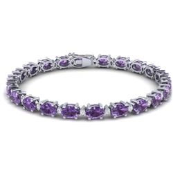 19.7 CTW Amethyst & VS/SI Certified Diamond Eternity Bracelet 10K White Gold - REF-104H2W - 29357