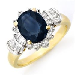 2.13 CTW Blue Sapphire & Diamond Ring 14K Yellow Gold - REF-80H2W - 13326
