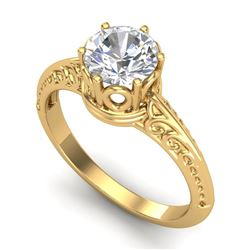 1 CTW VS/SI Diamond Art Deco Ring 18K Yellow Gold - REF-298Y5N - 37252