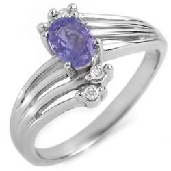 0.70 CTW Tanzanite & Diamond Ring 18K White Gold - REF-40T8X - 10125