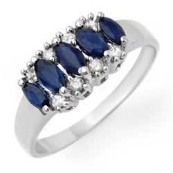 1.02 CTW Blue Sapphire & Diamond Ring 18K White Gold - REF-33H3W - 12960