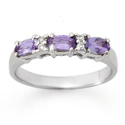 0.82 CTW Tanzanite & Diamond Ring 18K White Gold - REF-40F4M - 13946