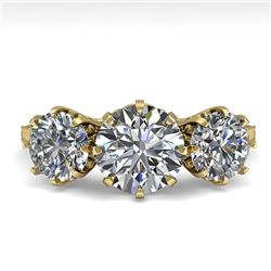 2 CTW Past Present Future Certified VS/SI Diamond Ring 18K Yellow Gold - REF-414H2W - 35776