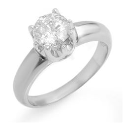 1.0 CTW Certified VS/SI Diamond Solitaire Ring 18K White Gold - REF-301K4R - 11136