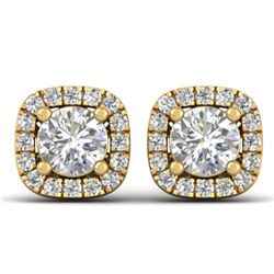 1.08 CTW Certified VS/SI Diamond Solitaire Stud Halo Earrings 14K Yellow Gold - REF-103Y3N - 30422
