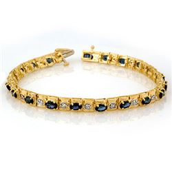 6.09 CTW Blue Sapphire & Diamond Bracelet 10K Yellow Gold - REF-72K8R - 10018