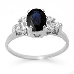 1.41 CTW Blue Sapphire & Diamond Ring 18K White Gold - REF-41M8F - 13734