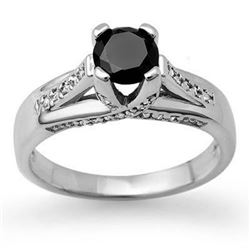 1.18 CTW Vs Certified Black & White Diamond Ring 14K White Gold - REF-64F2M - 11881
