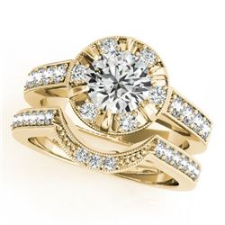 2.35 CTW Certified VS/SI Diamond 2Pc Wedding Set Solitaire Halo 14K Yellow Gold - REF-488T8X - 31294
