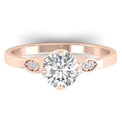 1.05 CTW Certified VS/SI Diamond Solitaire Art Deco Ring 14K Rose Gold - REF-278T8X - 30562