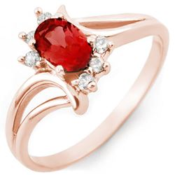 0.70 CTW Pink Tourmaline & Diamond Ring 14K Rose Gold - REF-28Y4N - 10486
