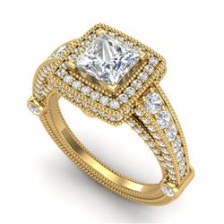 2.53 CTW Princess VS/SI Diamond Solitaire Art Deco Ring 18K Yellow Gold - REF-509M3F - 37126