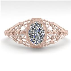 0.50 CTW VS/SI Oval Diamond Solitaire Engagement Ring Deco 18K Rose Gold - REF-104M8F - 36020