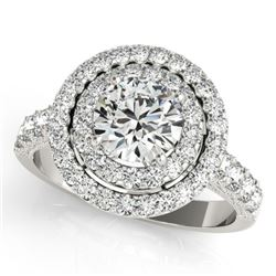 2.25 CTW Certified VS/SI Diamond Solitaire Halo Ring 18K White Gold - REF-443M3F - 26883