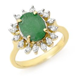 3.10 CTW Emerald & Diamond Ring 10K Yellow Gold - REF-70T2X - 12684