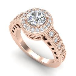 1.53 CTW VS/SI Diamond Solitaire Art Deco Ring 18K Rose Gold - REF-454K5R - 36960