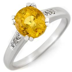 2.35 CTW Yellow Sapphire & Diamond Ring 10K White Gold - REF-27N8Y - 11377