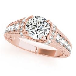 1.5 CTW Certified VS/SI Diamond Solitaire Antique Ring 18K Rose Gold - REF-398F8M - 27403