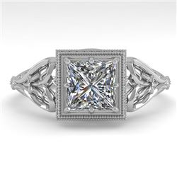 1.0 CTW VS/SI Princess Diamond Solitaire Engagement Ring Deco 18K White Gold - REF-344N4Y - 36042