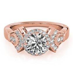1.56 CTW Certified VS/SI Diamond Solitaire Halo Ring 18K Rose Gold - REF-506H9W - 26950