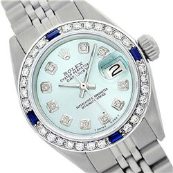 Rolex Ladies Stainless Steel, Diam Dial & Diam/Sapphire Bezel, Saph Crystal - REF-355A6N
