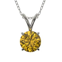 0.79 CTW Certified Intense Yellow SI Diamond Solitaire Necklace 10K White Gold - REF-100N2Y - 36748