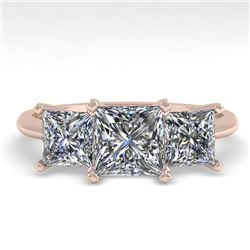 2.0 CTW Princess VS/SI Diamond 3 Stone Designer Ring 18K Rose Gold - REF-390T2X - 32471