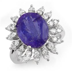 7.38 CTW Tanzanite & Diamond Ring 14K White Gold - REF-277Y6N - 13795