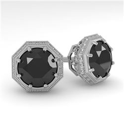 2.0 CTW Black Diamond Stud Solitaire Earrings 18K White Gold - REF-64Y9N - 35979