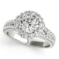 2.01 CTW Certified VS/SI Diamond Solitaire Halo Ring 18K White Gold - REF-421H6W - 26700