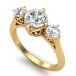 1.51 CTW VS/SI Diamond Solitaire Art Deco 3 Stone Ring 18K Yellow Gold - REF-427T3X - 37237