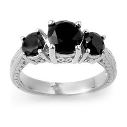 2.50 CTW Vs Certified Black Diamond 3 Stone Ring 14K White Gold - REF-67R6K - 13798