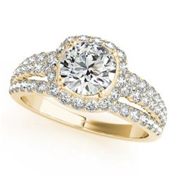 2 CTW Certified VS/SI Diamond Solitaire Halo Ring 18K Yellow Gold - REF-407X3T - 26750