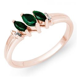 0.29 CTW Emerald & Diamond Ring 18K Rose Gold - REF-31W5H - 13519