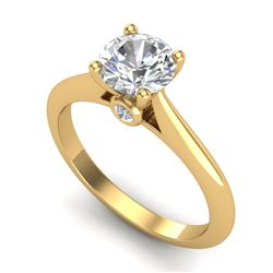 1.08 CTW VS/SI Diamond Solitaire Art Deco Ring 18K Yellow Gold - REF-361M8F - 37288