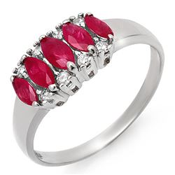 0.77 CTW Ruby & Diamond Ring 18K White Gold - REF-37K3R - 12337