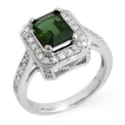 2.50 CTW Green Tourmaline & Diamond Ring 18K White Gold - REF-87N6Y - 10320