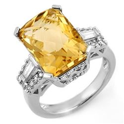 9.55 CTW Citrine & Diamond Ring 14K White Gold - REF-94R2K - 11566
