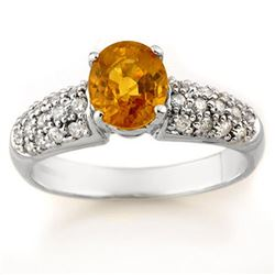 1.25 CTW Yellow Sapphire & Diamond Ring 14K White Gold - REF-56M4F - 14316