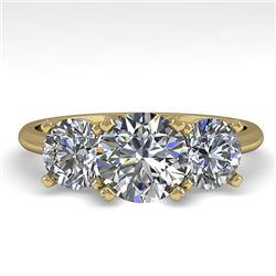 2 CTW VS/SI Diamond Past Present Future Designer Ring 18K Yellow Gold - REF-407K3R - 32464