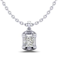 1.25 CTW Princess VS/SI Diamond Solitaire Art Deco Necklace 18K White Gold - REF-315T2X - 37154