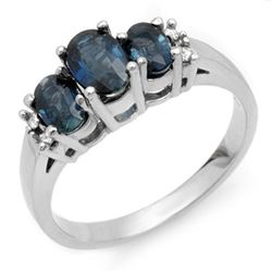 1.34 CTW Blue Sapphire & Diamond Ring 18K White Gold - REF-43T3X - 10537