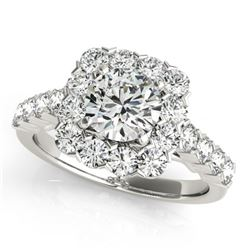 2.22 CTW Certified VS/SI Diamond Solitaire Halo Ring 18K White Gold - REF-271W3H - 26209