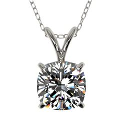1 CTW Certified VS/SI Quality Cushion Cut Diamond Necklace 10K White Gold - REF-267X8T - 33198