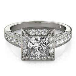 2.1 CTW Certified VS/SI Princess Diamond Solitaire Halo Ring 18K White Gold - REF-309M6F - 27171