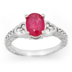 2.31 CTW Ruby & Diamond Ring 14K White Gold - REF-62R4K - 13978