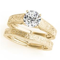 1 CTW Certified VS/SI Diamond Solitaire 2Pc Wedding Set 14K Yellow Gold - REF-364F2M - 31870