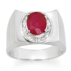 3.33 CTW Ruby & Diamond Mens Ring 10K White Gold - REF-58M4F - 14477