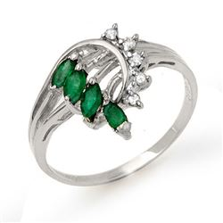 0.55 CTW Emerald & Diamond Ring 18K White Gold - REF-36X2T - 13022